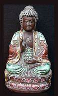 Vintage ceramic Chinese Buddha (9 in. tall) - from the Villa Del Prado Light of Asia Collection