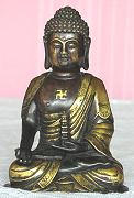 Chinese Buddha - vintage Bronze - fine patina and gilt work (6 in. tall) - early 20th century - from the Villa Del Prado Light of Asia Collection.