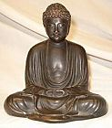 Japanese Buddha in the image of the Great Buddha of Kamakura, Japan  - solid bronze,  fine patina (6 in. tall) - meiji period - from the Villa Del Prado Light of Asia Collection
