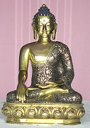 Fine Nepalese buddha seated in earth witness mudra