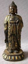 Chinese standing Gilt Bronze Buddha (11.5 in. tall) - Qing Dynasty - from the Villa Del Prado Light of Asia Collection